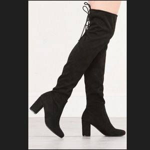 Chinese Laundry Black Thigh High Suede Boots